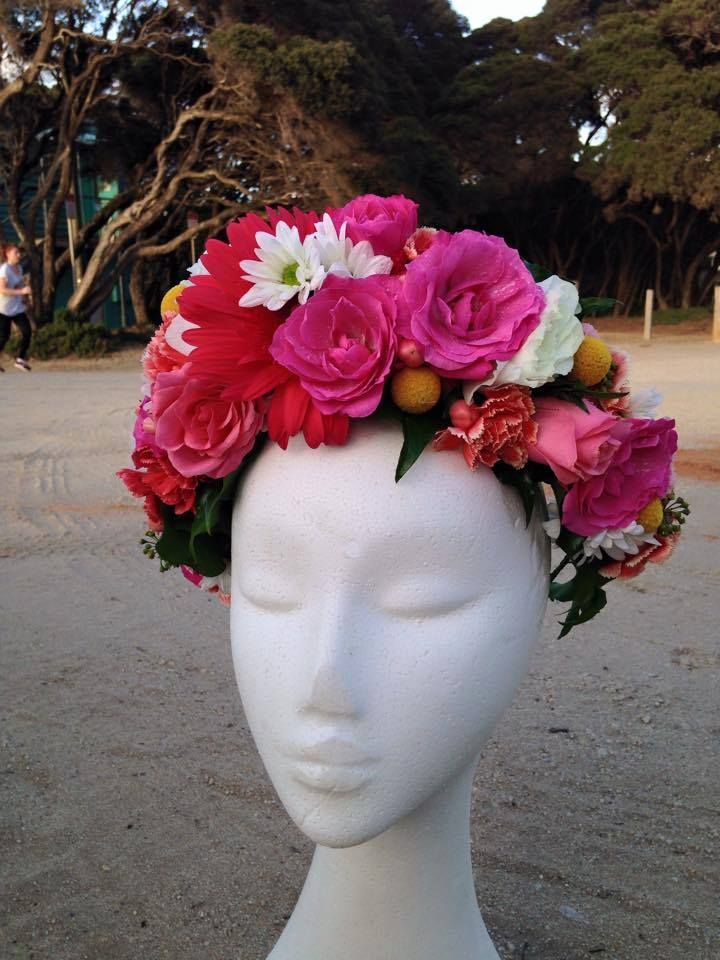 Fresh flower crown, bold and bright colours. Hot pink, yellow, coral, white and green