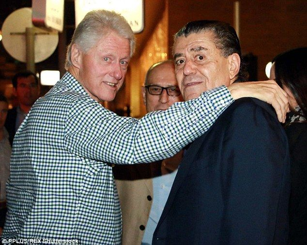 The Clintons' biggest donor of all time is Univision chairman Haim Saban (right), posing with former President Bill Clinton last month on a trip to Tel Aviv, Israel.