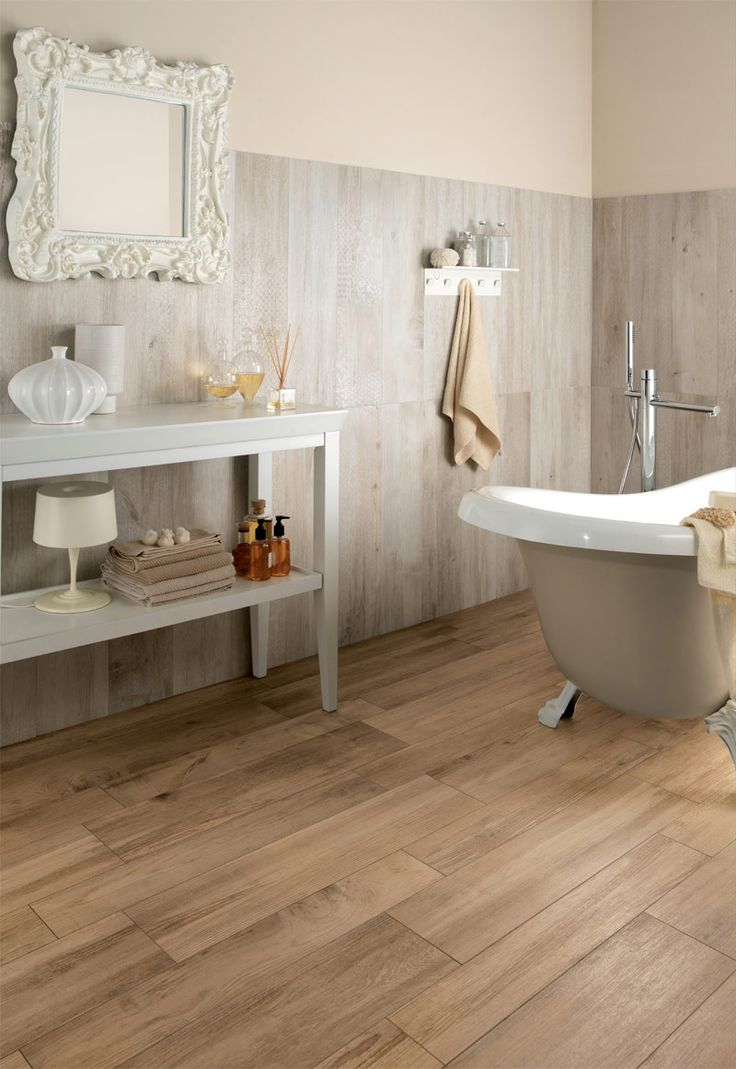 Bathroom Design Delightful Wood Tile Bathroom With Medium Rough Wooden Floor Tiles In Bathroom Also Cool White Bath And Charming Mirror With White Frame