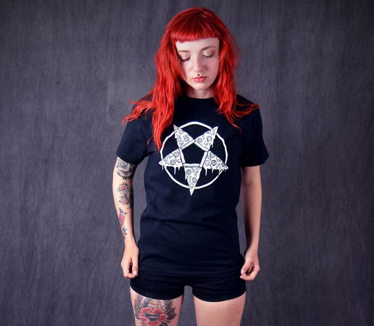 All hail the pizza pentagram! Two of my favorite things drawn together by Thrillhaus.com !! Choose from size S,M,L,XL