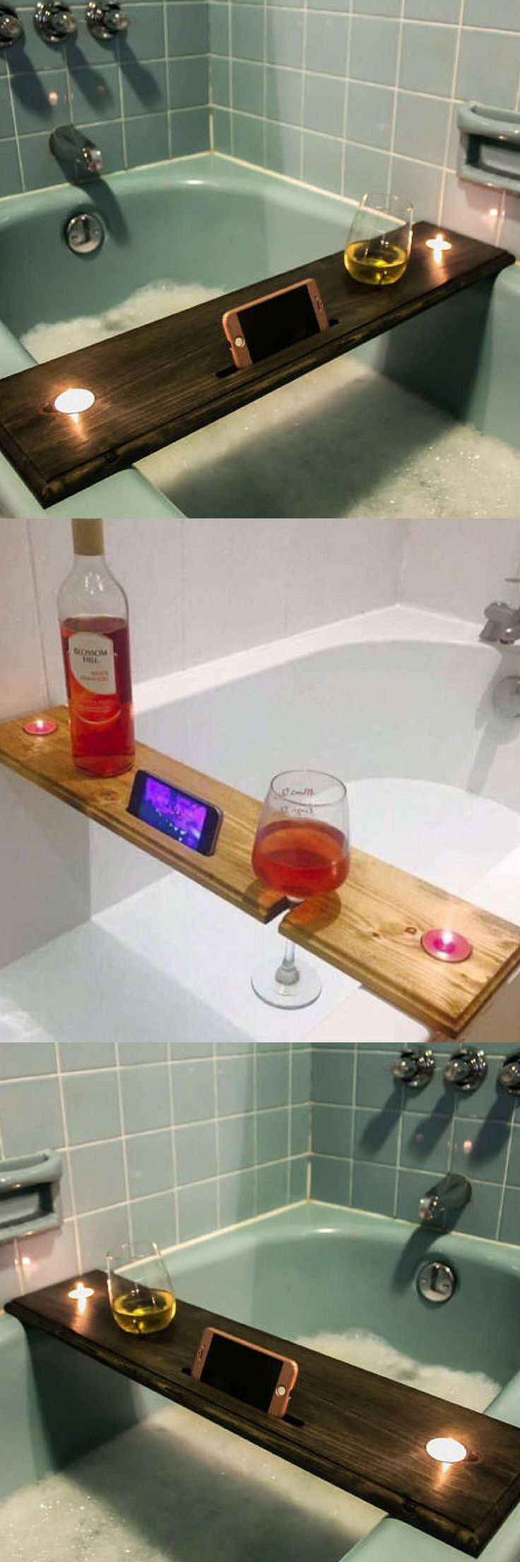 "Sit back and relax in your warm bubble bath with this bath caddy that  can hold a glass of wine, bottle, or a can of your favorite beverage!   This  caddy comes equipped with 2 tea light candle holders (tea light candles  included), a slot to place your phone/iPad/kindle, and a 2 3/4""  designated spot to place a stemless glass, can, or bottle! Wooden Bathtub Table/Caddy/Tray That Holds Wine, Beer, Drink, Candles, and Phone/iPad/Kindle #valentinesideas #ad #bathroomideas #bathroomdecor…"