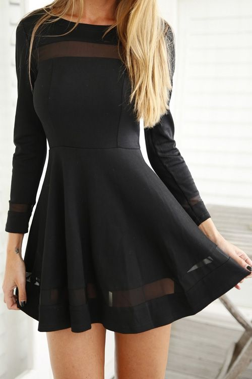 See-Through Voile Splicing Long Sleeve Dress