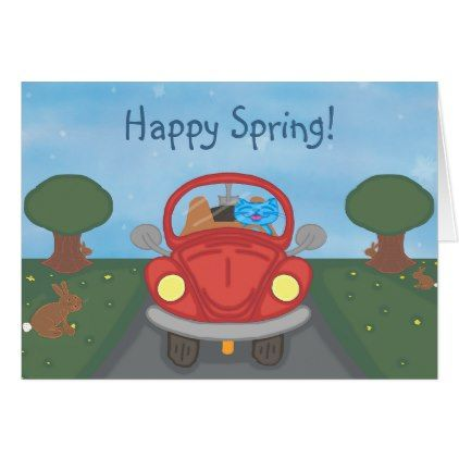 Milo Drives A Red Bug Car Spring Card - animal gift ideas animals and pets diy customize