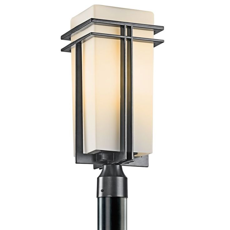 Kichler 49207 tremillo single light 20 wide outdoor post light with etched glas black