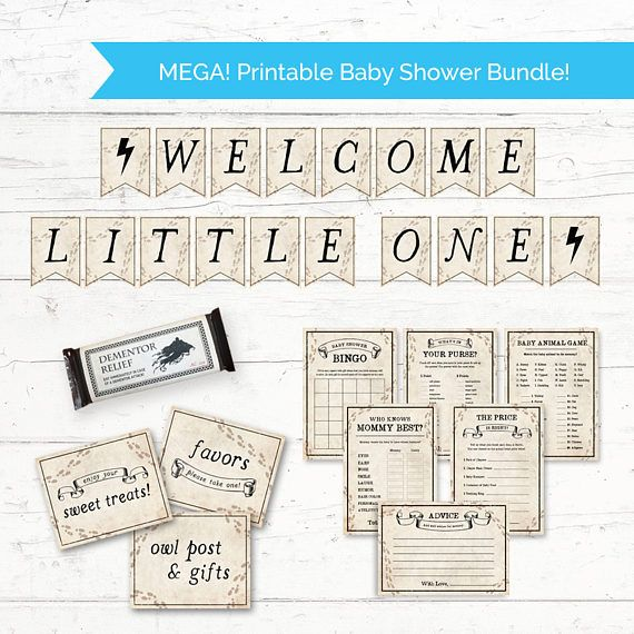 Harry Potter MEGA Baby Shower Printable Bundle Pack   Printable Baby Shower  Decorations And Games Package   Instant Download