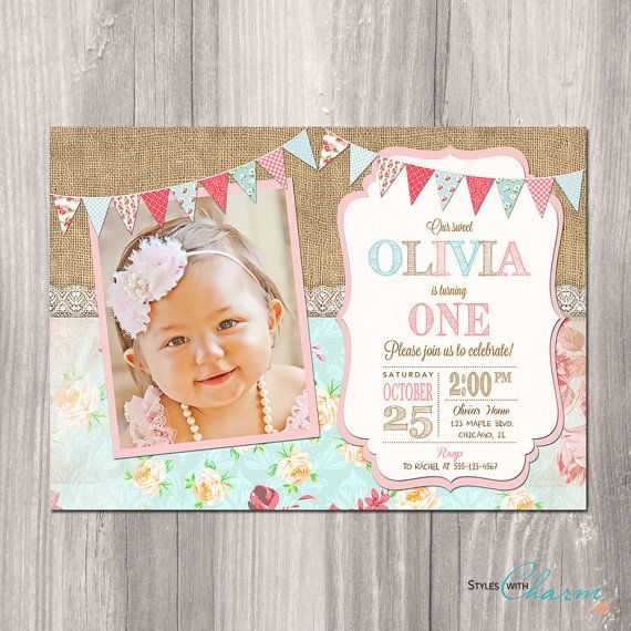 Shabby Chic Birthday Invitation Girl First por StyleswithCharm