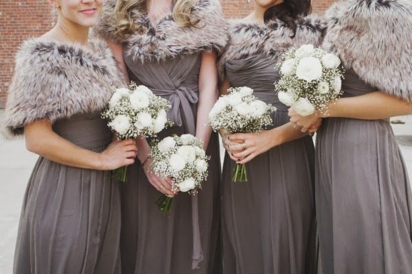 Winter Wedding Bridesmaids. This would be perfect if it were in burgundy