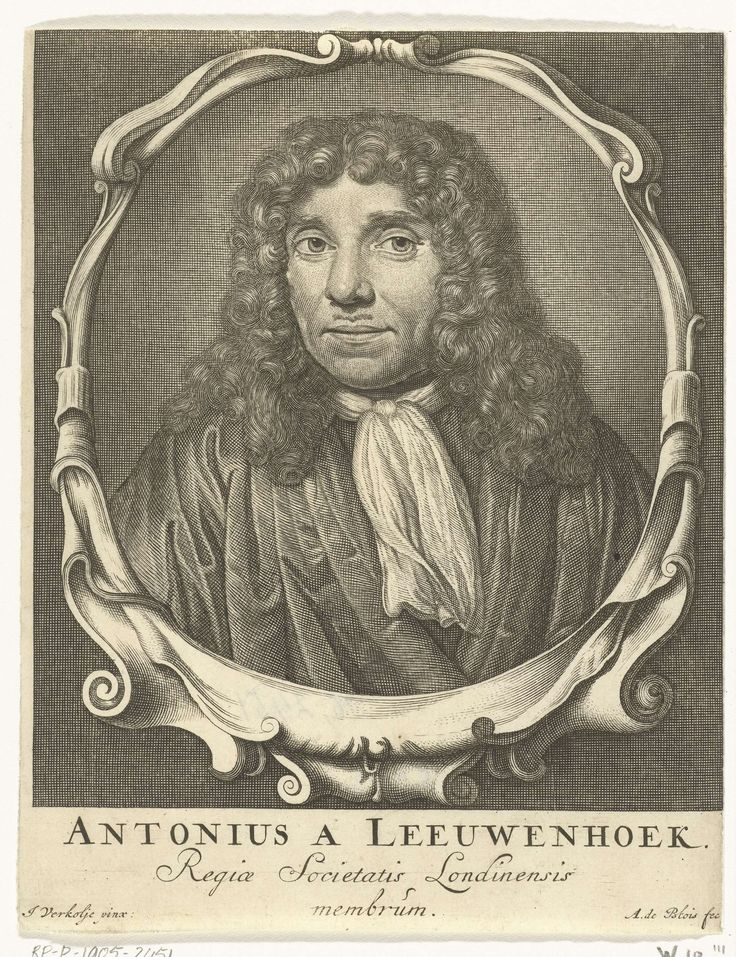 Abraham de Blois | Portret van Antonie van Leeuwenhoek, Abraham de Blois, 1679 - 1717 | Portret van Antonie van Leeuwenhoek, buste in ovale omlijsting met krulornamenten.