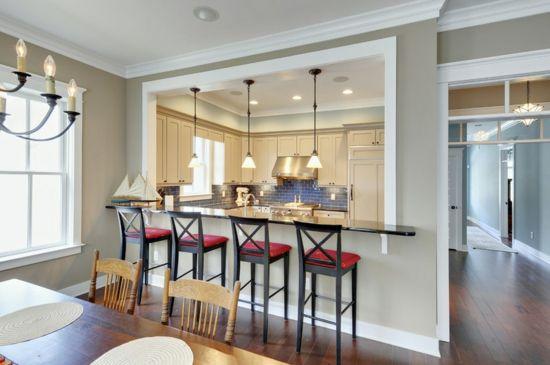 offener wohnbereich wand abreißen küche mit esszimmer theke barhocker