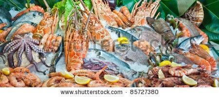 Fresh seafood arrangement displayed in market in Crete, in Rethymno
