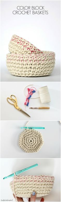 This crochet basket pattern works up quickly using a subtle color block technique. Create these cute little vessels for storing odds and ends with style!
