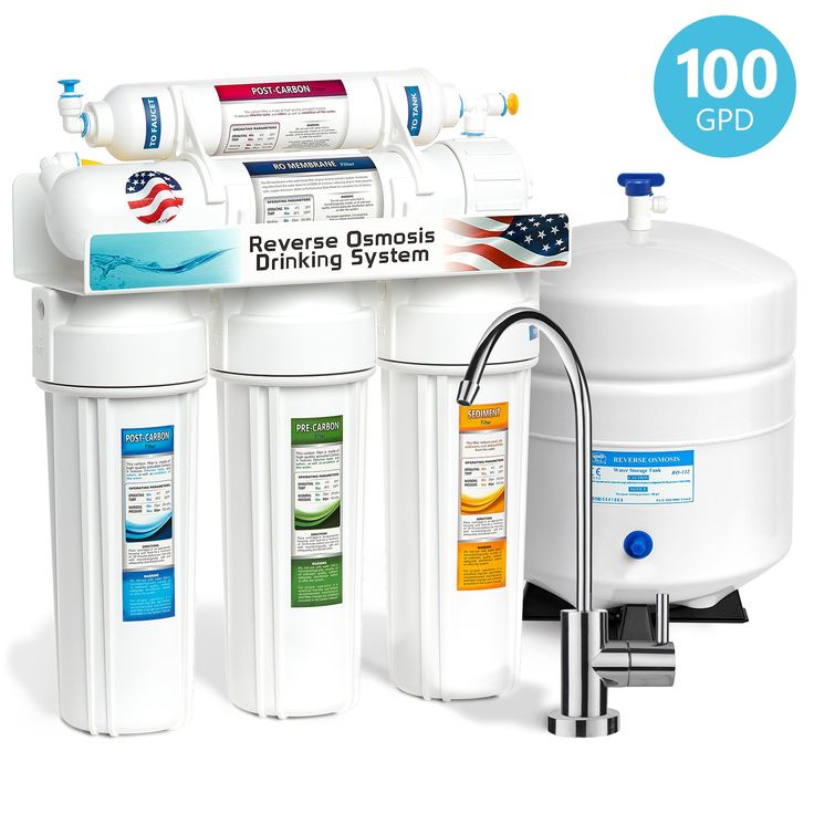 Express Water 5 Stage Home Drinking Reverse Osmosis Water Filtration System 100 GPD RO Membrane Filter Modern Chrome Faucet - Ultra Safe Residential Under Sink Water Purification - One Year Warranty