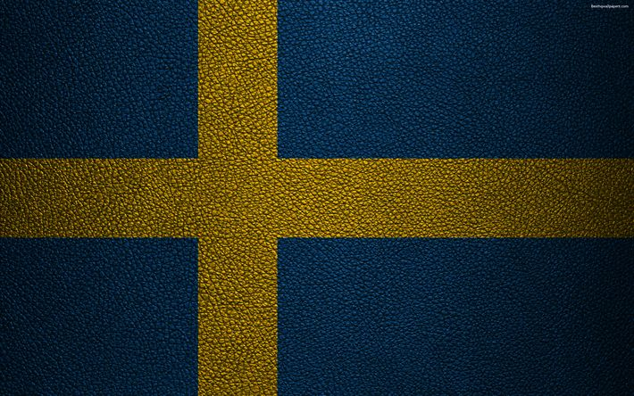 Download wallpapers Flag of Sweden, 4k, leather texture, Swedish flag, Europe, flags of Europe, Sweden