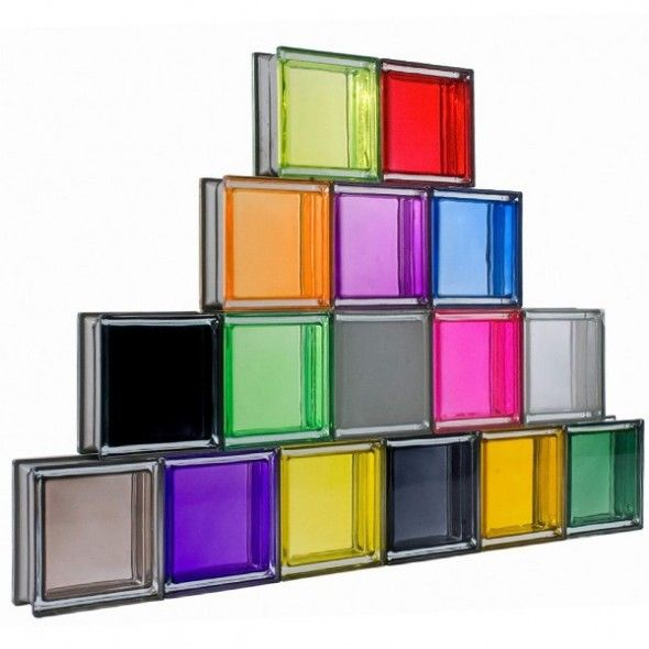 Genious Ideas of colorful Glass Block for Cool Room Separator