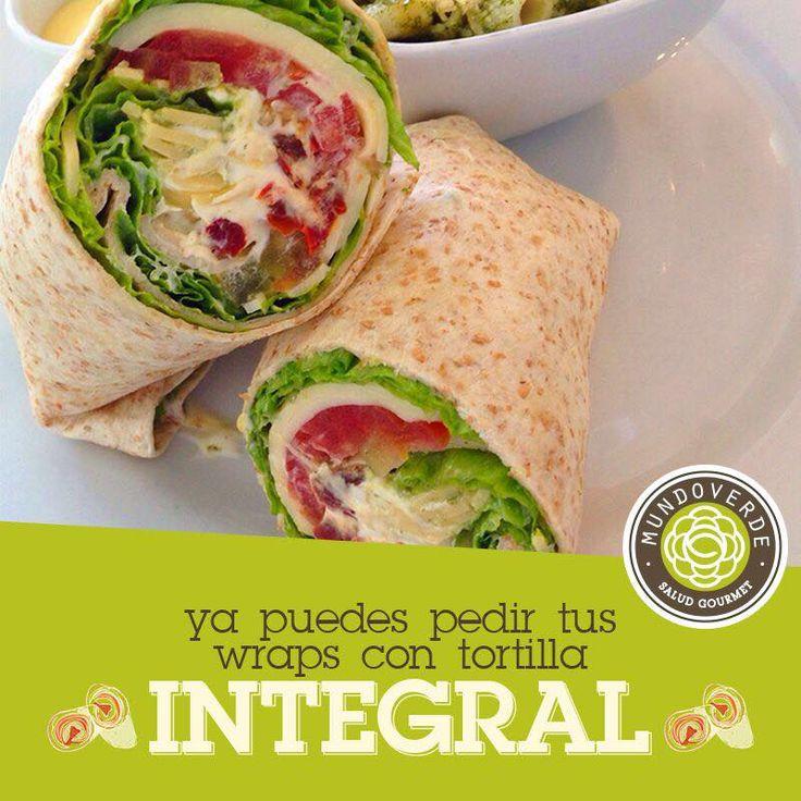 Ya puedes pedir tus wraps y derretidos con tortilla integral. En @mundoverdesaludgourmet pensamos en tu #salud a la hora de comer