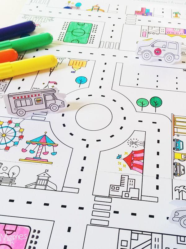 Un super jeu de route à imprimer et colorier pour créer un circuit à l'infini !