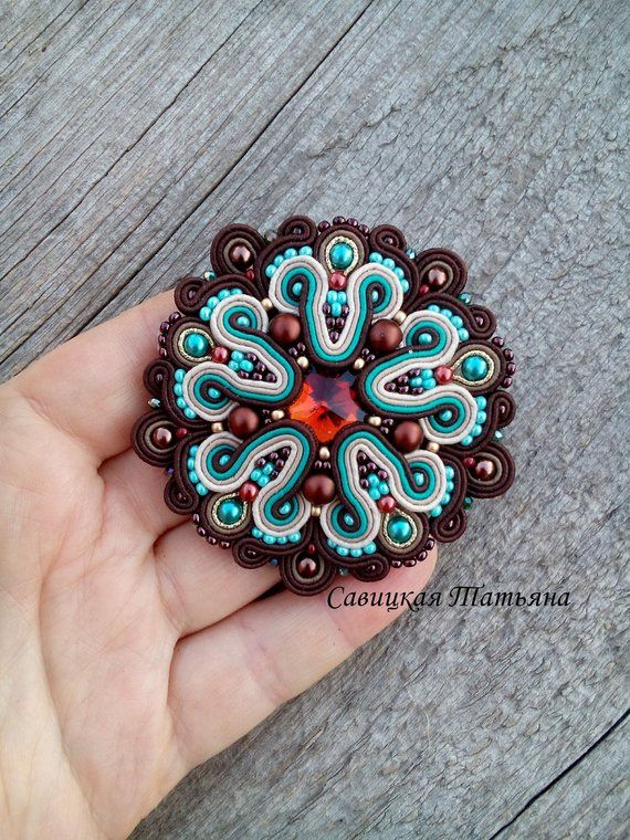 Embroidered brooch turquoise and gold brooch Gift for her Soutache brooch beige Green Soutache jewelry FREE SHIPPING Beaded brooch