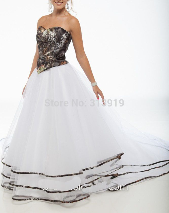 free shipping 2016 new style strapless mossy oak camo wedding gowns camouflage wedding dresses custom make