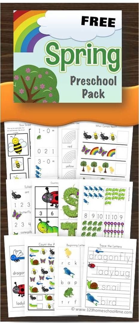 FREE Spring Preschool Worksheets, Kindergarten worksheets - super cute, no prep. Include math worksheets (addition, subtraction, graphing, counting) and alphabet letters, tracing letters, syllables, and more.