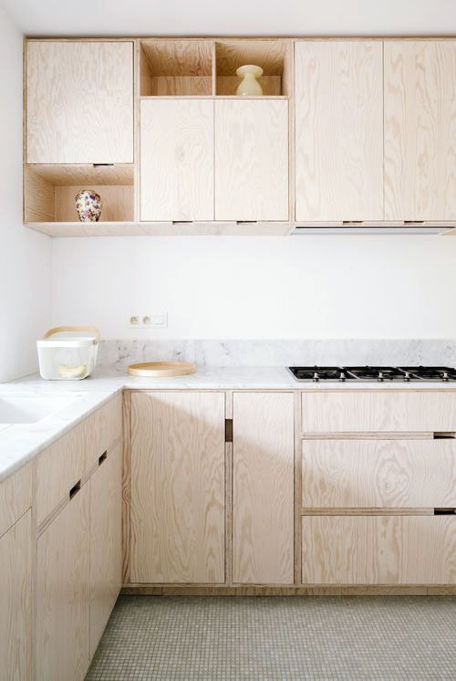 Kitchen made of plywood. Plywood kitchen. Furniture made of OSB.