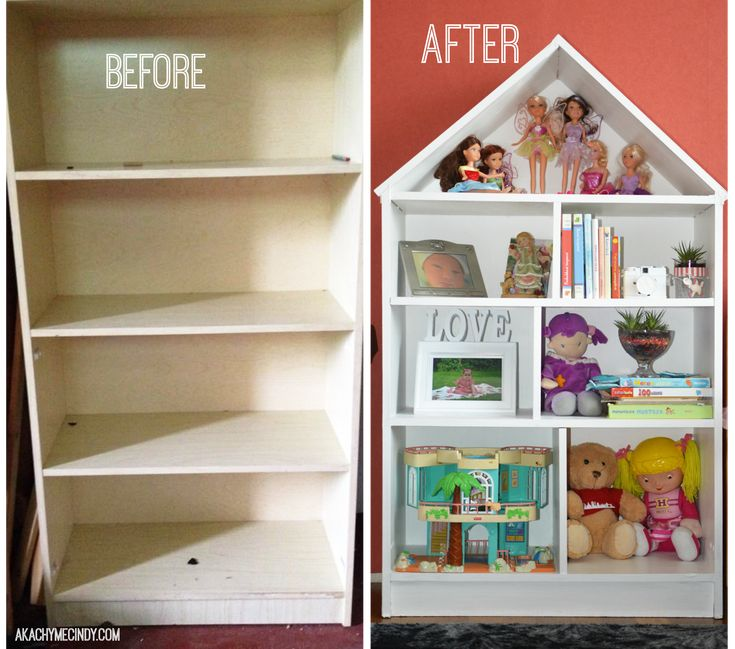 DIY: Dollhouse Bookcase (From An Old Bookcase) This is what you would do if you really wanted your little girl to have a dollhouse bookcase in her room. I enjoyed converting this old bookcase into a nice dollhouse. Its worth the effort!