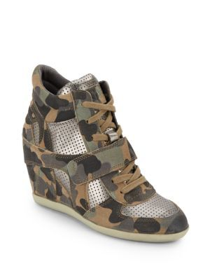 ASH Bowie Camo Leather Wedge Sneaker. #ash #shoes #sneaker