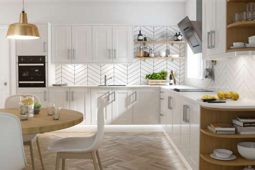 Shaker White Gloss Kitchen - love the tiles!