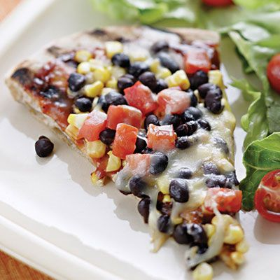 Smoky Corn & Black Bean Pizza ~ from Eating Well. Healthy! Next time I would make it with salsa and chicken sausage.