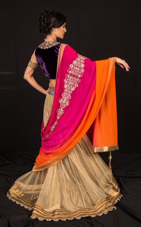 How often does one see a cream, pink, orange and purple wedding lehanga? :) <3 #indianwedding