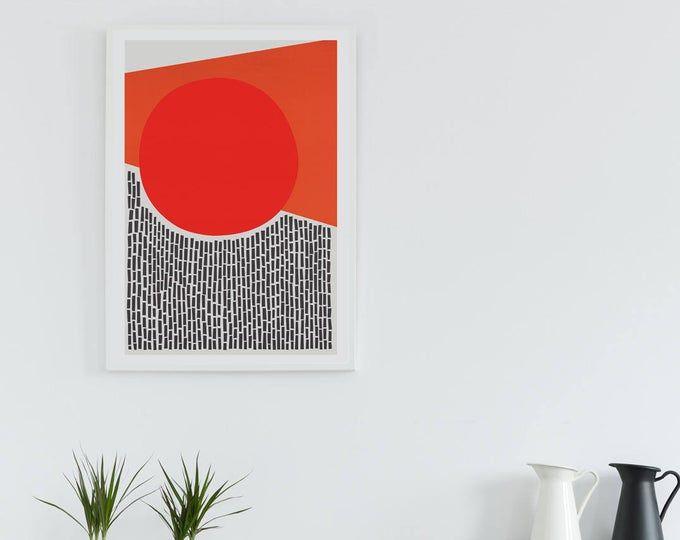 Sun Sea Waves Abstract Landscape Burnt Orange Sun Marine Prints Nordic Wall Art Scandinavian Minimalist Original Art Instant Download Abstract Landscape Abstract Original Art
