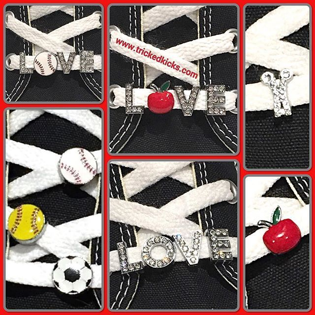 Tricked Kicks now have SHOELACE CHARMS! Decorate you shoes with sports, apples and words! Make great gifts and stocking stuffers! #charms #shoejewelry #sportsgirl #sportsmom #teacher #hairstylist #crafter #trickedkicks
