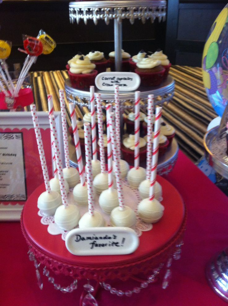 Cake pops made by Cachemire Cupcakes -chocolate fudge dipped in white chocolate