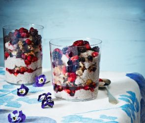 Chia+Pudding+with+Granola+and+Mixed+Berries