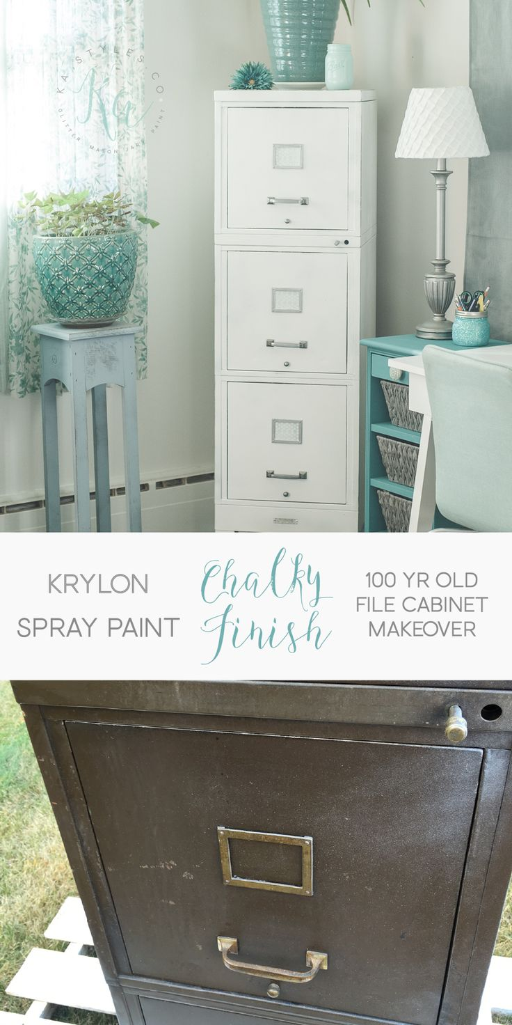 Krylon Chalky Finish spray paint. File cabinet makeover.