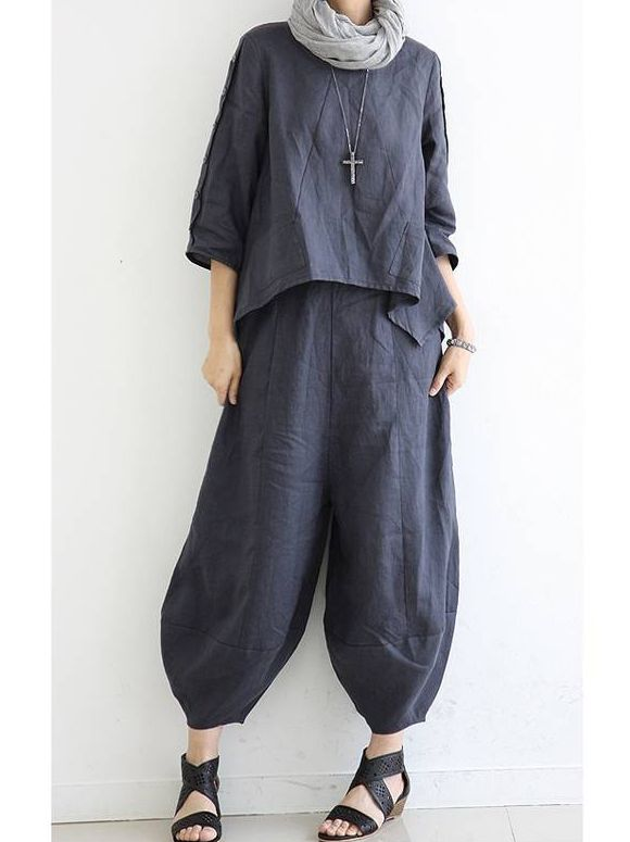 $28.30 - Linen Low Waistline Casual Solid Loose Plus Fours Long Women Pants with Quality-Style-Affordability © - Get this Pants here: http://www.e1womenjeans.com/productdisplay/index/pid/603254/