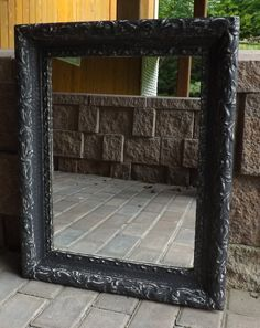 Gorgeous Wooden Framed Mirror ~ paint colour matches the Side Table.  Available in the shoppe at 73 Foster Street, Perth, Ontario.