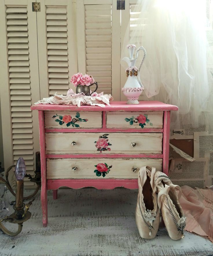 small chest of drawers shabby cottage kids room nursery room storage pink distressed hand painted home decor