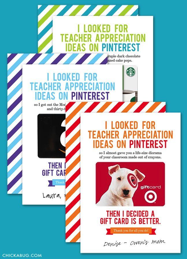 12 printable gift card holders for teachers | Gift card ...