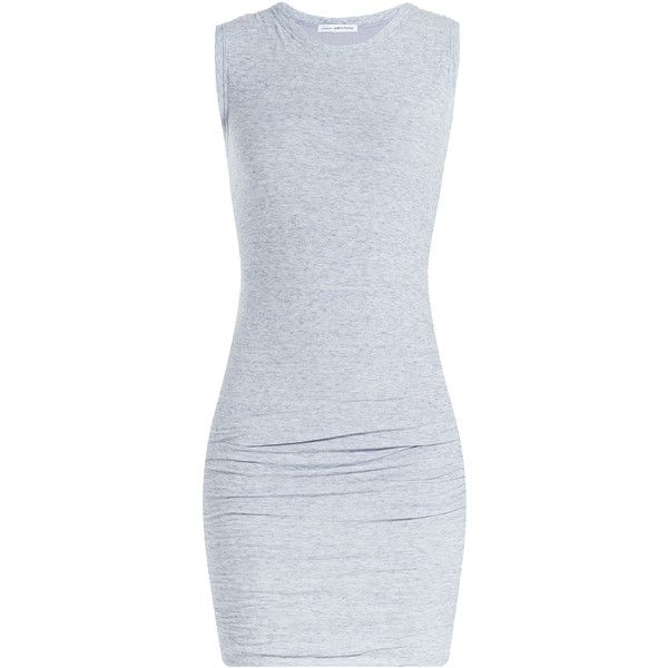 James Perse Draped Cotton Jersey Dress ($215) ❤ liked on Polyvore featuring dresses, vestidos, robes, grey, draped dress, james perse dress, gray dress, grey dress and round neck dress