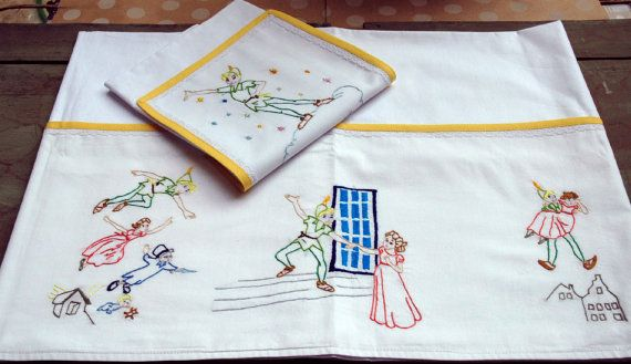 Peter Pan cradle bedding Baby linen sheets by babysdreamfairytales