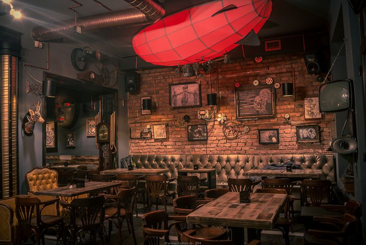 Joben Bistro Cluj Steampunk Joben Bistro Pub Inspired by Jules Verne's Fictional Stories. What beautiful rich color and design!