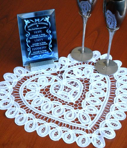 Battenberg Lace Doilies 12in Heart WHITE