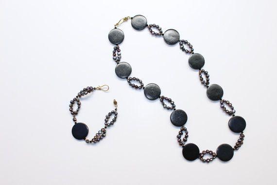 Necklace  Bracelet. Wooden Necklace Black by DesignIndividuelle
