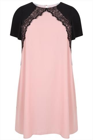 Pink Chiffon Swing Dress With Black Panels And Lace Trim