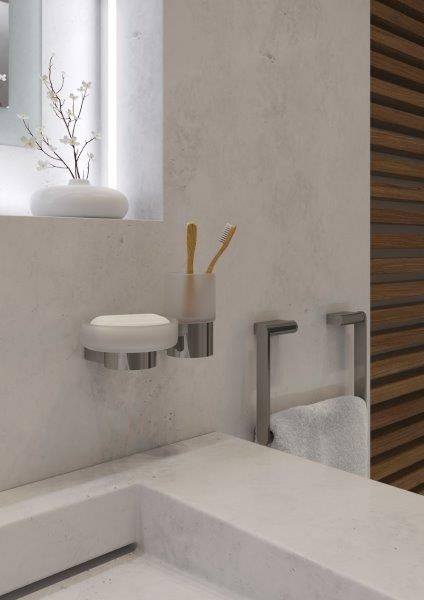 Infinity Frosted glass soap dish and holder, Infinity Frosted glass tumbler and holder, Infinity Towel ring by VADO