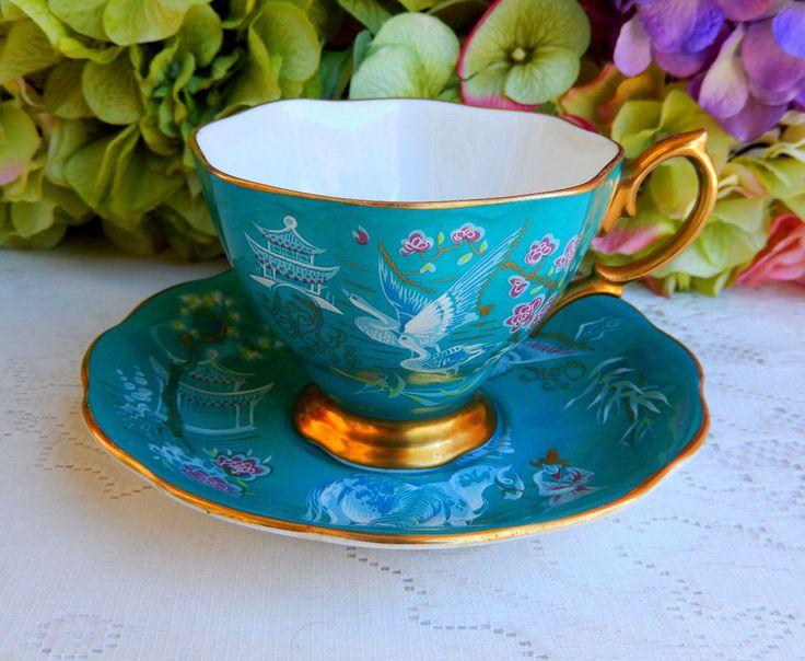 Vintage Royal Albert Bone China Cup & Saucer ~ Turquoise Oriental ~ Gold #RoyalAlbert