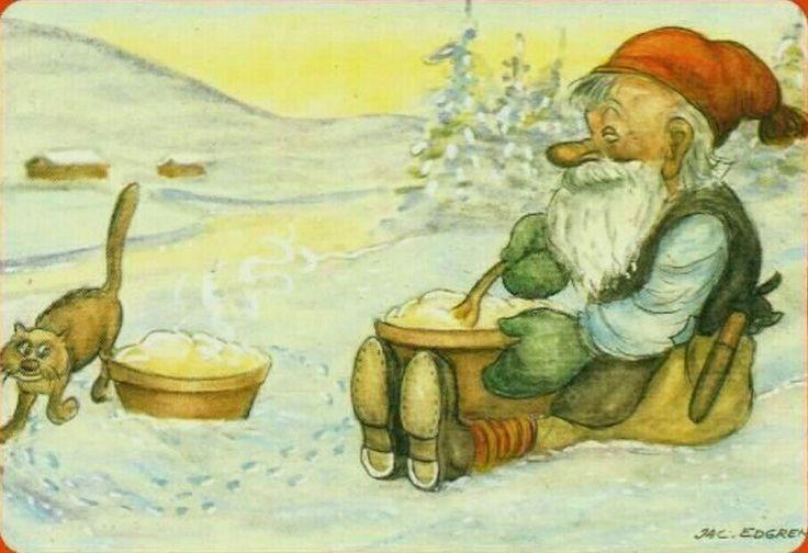 Julkort Jac Edgren tomte och katt med gröt