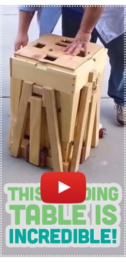 Une incroyable petite table pliante.  http://rienquedugratuit.ca/videos/une-incroyable-petite-table-pliante/