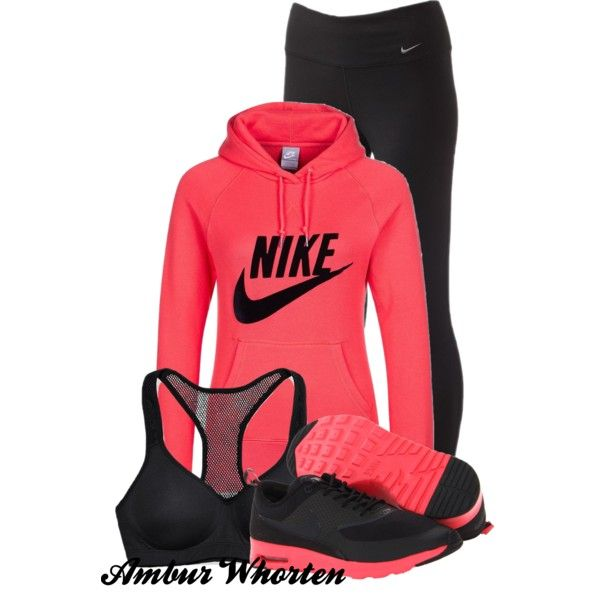 She Looks Good In Nike 2 by tattooedleopard23 on Polyvore featuring NIKE and Victoria's Secret PINK