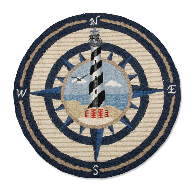Wool Area Rug With Nautical Comp Rose And Lighthouse Design
